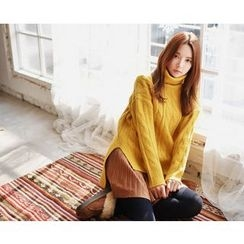 GOROKE - Turtle-Neck Dip-Back Cable-Knit Sweater