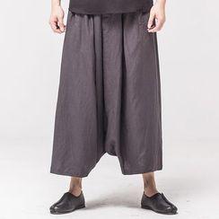 Ashen - 亞麻寬鬆低襠九分褲