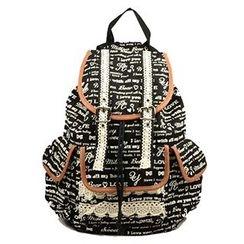 Meringue - Lettering Lace Trim Canvas Backpack