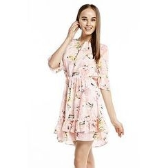 O.SA - Patterned Ruffled Buttoned Chiffon Dress