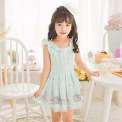 Candy Rain - Kids Bow Accent Striped Sleeveless Dress