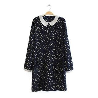 JVL - Peter Pan-Collar Patterned Shift Dress