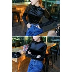 migunstyle - Mock-Neck Velvet Top