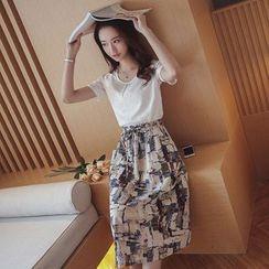 Cherry Dress - Set: Short-Sleeve Top + Print Midi Skirt