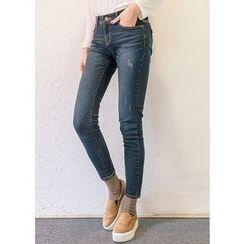J-ANN - Brushed-Fleece Distressed Jeans