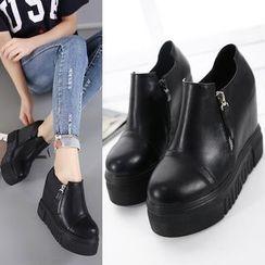 Anran - Hidden Wedge Platform Ankle Boots