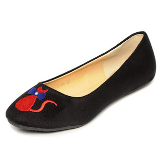 yeswalker - Embroidered Cat Faux Suede Flats