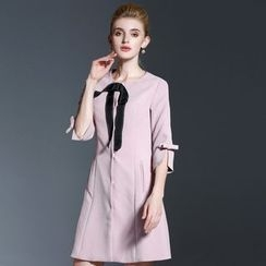 Seagrass - 3/4-Sleeve Bow-Accent Coatdress