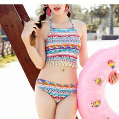 Jumei - Set: Print Tasseled Tankini + Cover-Up Shorts