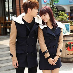 Igsoo - Couple Panel Hooded Coat