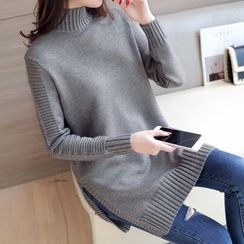 Shomez - Mélange Mock Neck Sweater
