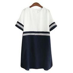 VIZZI - Contrast Trim Short Sleeve Dress