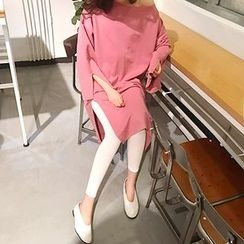 MARSHMALLOW - Boatneck Slit-Side Long Top