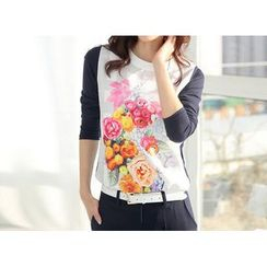 Zyote - Long-Sleeve Floral T-Shirt
