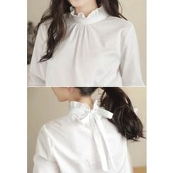 MyFiona - Frill-Neck Beribboned-Back Blouse
