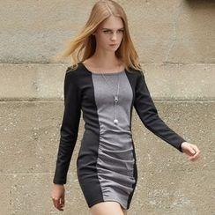 Ranee - Long-Sleeve Shirred Panel Dress