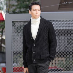 DANGOON - Shawl-Collar Buttoned Cable-Knit Cardigan