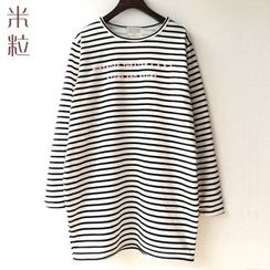 Grainie - Lettering Striped Long Sleeve Tunic