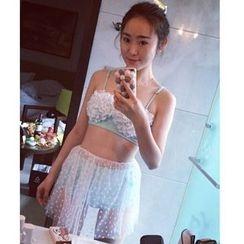 Jumei - 套装: 碎花高腰比基尼泳衣 + 薄纱裙