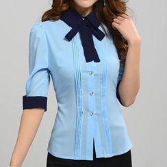 Caroe - Tie-Neck Elbow-Sleeve Chiffon Shirt