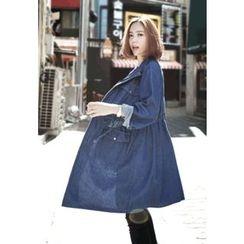 REDOPIN - Drawstring-Waist Pocket-Detail Denim Jacket