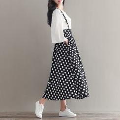 Clover Dream - Polka Dot Suspender Midi Skirt