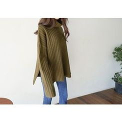 Hello sweety - Turtle-Neck Slit-Hem Ribbed Sweater