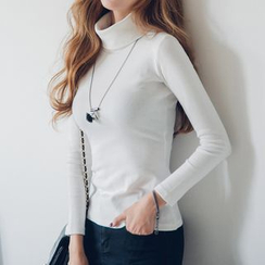 Fashion Street - Turtleneck Plain Long-Sleeve Top