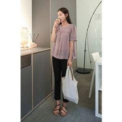 CHERRYKOKO - Short-Sleeve Zip-Back Top