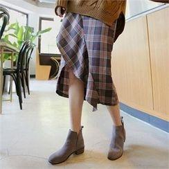 QNIGIRLS - Ruffle-Trim Plaid Midi Skirt