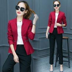 TRIST - 套裝: 修身西裝外套 + 純色西褲