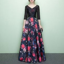 Rosita - Lace Panel Floral Print Evening Gown