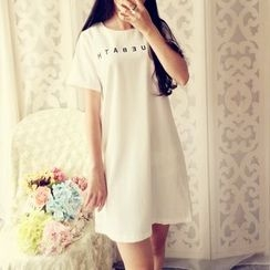 Cobblestone - Short-Sleeve Chiffon Dress
