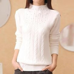 Cotton Candy - Embellished Ribbed Knit Top