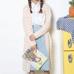 MIKPO - Striped Long Cardigan