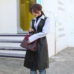 DABAGIRL - Belted Faux-Leather Long Vest