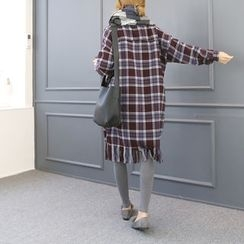 DANI LOVE - Fringed-Hem Long Plaid Shirt