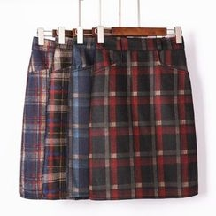 City of Dawn - Plaid Pencil Skirt