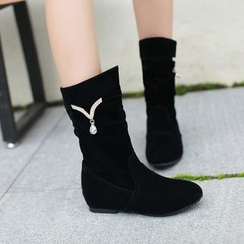 Shoes Galore - Embellished Hidden Wedge Short Boots