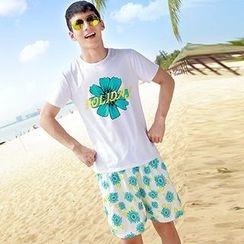 Azure - Couple Matching Floral Print Halter Neck Maxi Dress / Floral Print Shorts + T-Shirt