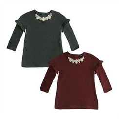 TWINSBILLY - Girls Lace Frill-Trim Top