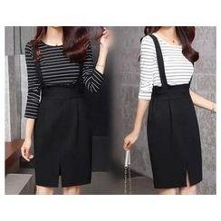 Melo Sweet - Set: Long-Sleeve Striped T-Shirt + Jumper Skirt