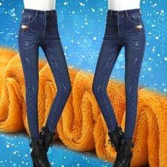 伊之恋 - 蜜蜂刺绣内加绒牛仔裤