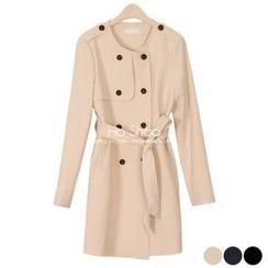 Ho Shop - Collarless Trench Coat