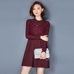 AiSun - Embroidered Long-Sleeve A-line Dress
