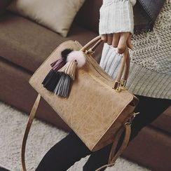 Secret Garden - Faux Leather Boston Bag