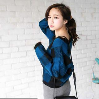 Tokyo Fashion - Roundneck Plaid Sweater
