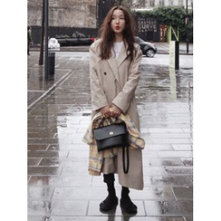 maybe-baby - Notched-Lapel Button-Detail Trench Coat