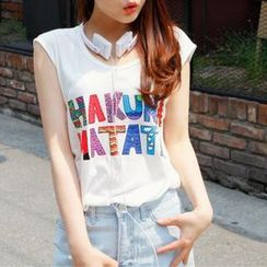 Cocopop - Multicolor Lettering Sleeveless Top