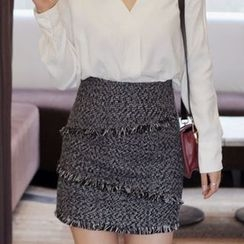 Seoul Fashion - Fringed Tweed Mini Pencil Skirt